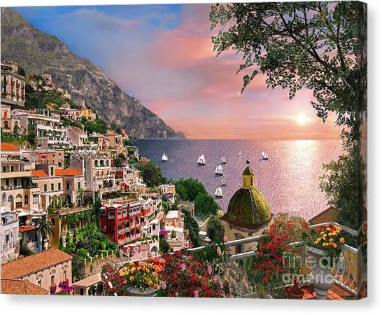Mountain View Canvas Print - Positano by Dominic Davison