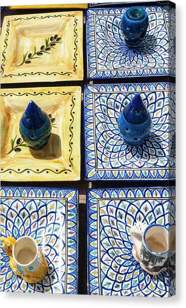 Ceramic Glazes Canvas Print - Pottery For Sale, Tabarka, Tunisia by Nico Tondini