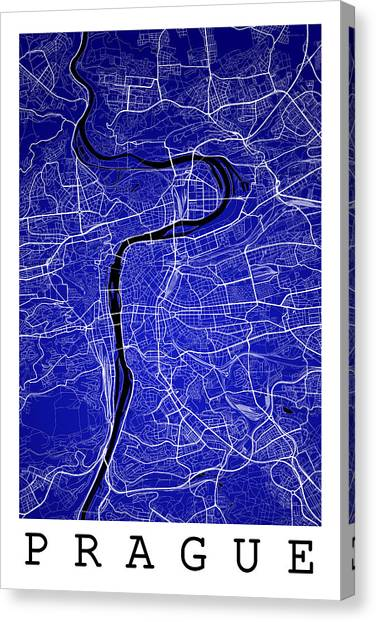 Prague Canvas Print - Prague Street Map - Prague Czech Republic Road Map Art On Colore by Jurq Studio