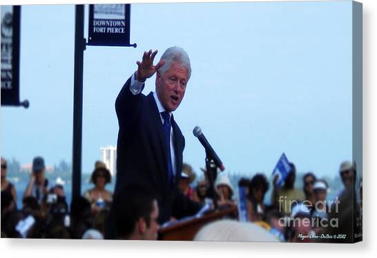 President Clinton In Fort Pierce Canvas Print