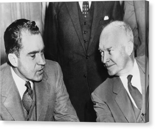 Republican Politicians Canvas Print - President Eisenhower And Nixon by Underwood Archives