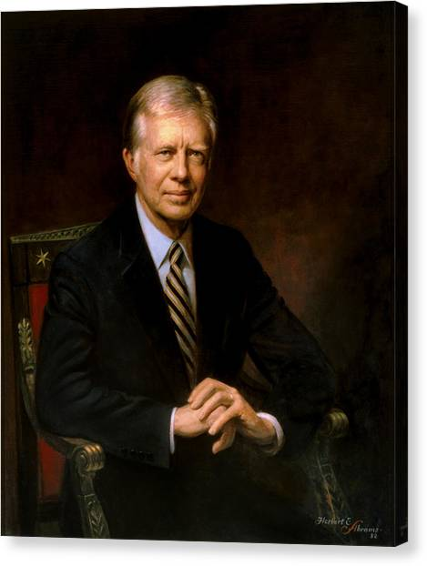 Democratic Presidents Canvas Print - President Jimmy Carter Painting by War Is Hell Store