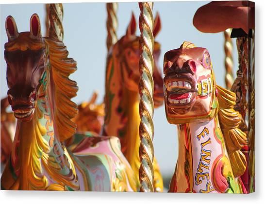 Pretty Carousel Horses Canvas Print