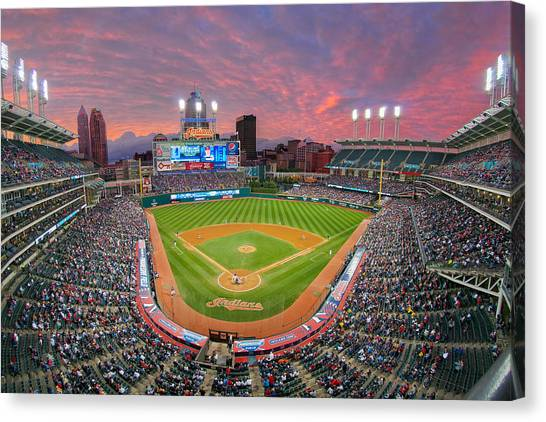 Progressive Field Sunset Canvas Print