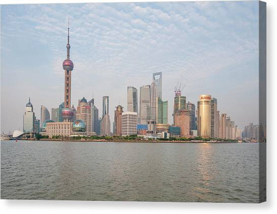 Shanghai Skyline Canvas Print - Pudong District, Shanghai, China by Michael Defreitas