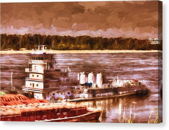 Riverboat - Mississippi River - Push That Barge Canvas Print