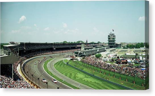 Indy 500 Canvas Print - Race Cars In Pace Lap In A Stadium by Panoramic Images