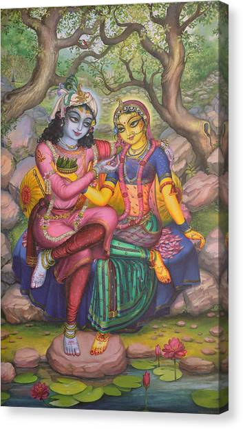 Flutes Canvas Print - Radha And Krishna by Vrindavan Das