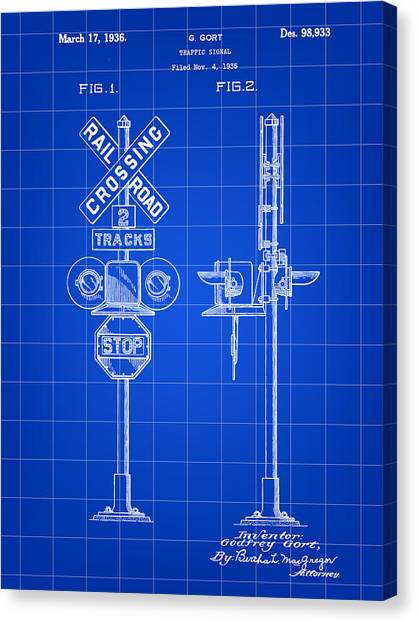 Trainspotting Canvas Print - Railroad Crossing Signal Patent 1935 - Blue by Stephen Younts