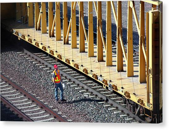 Freight Trains Canvas Print - Railway Worker by Jim West