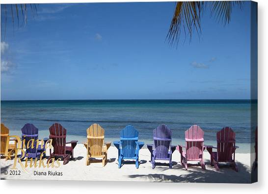 Rainbow Color Of Chairs Canvas Print