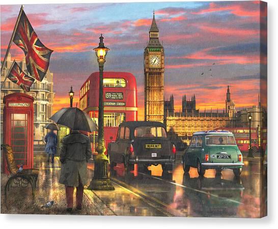 Parliament Canvas Print - Raining In Parliament Square by Dominic Davison