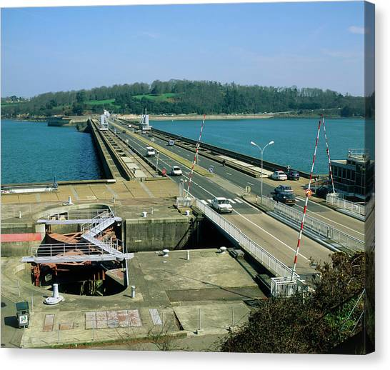 Rance Tidal Power Barrage Canvas Print by Martin Bond/science Photo Library