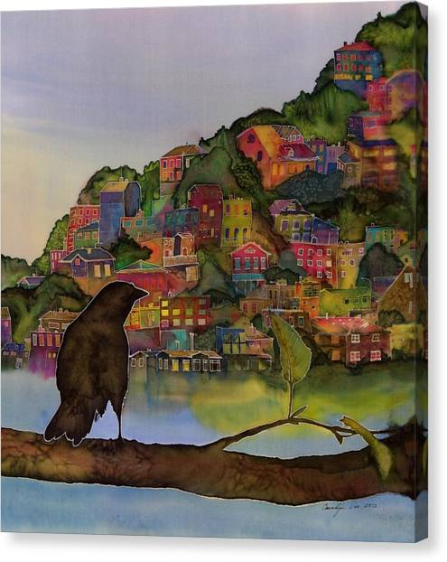 Raven And The Village  Canvas Print