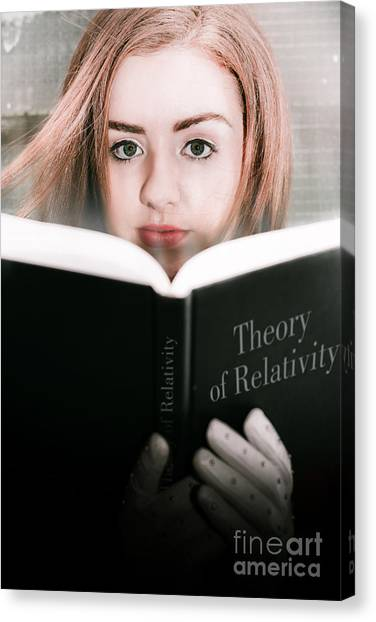 Binders Canvas Print - Reading Theory Of Relativity Book by Jorgo Photography - Wall Art Gallery
