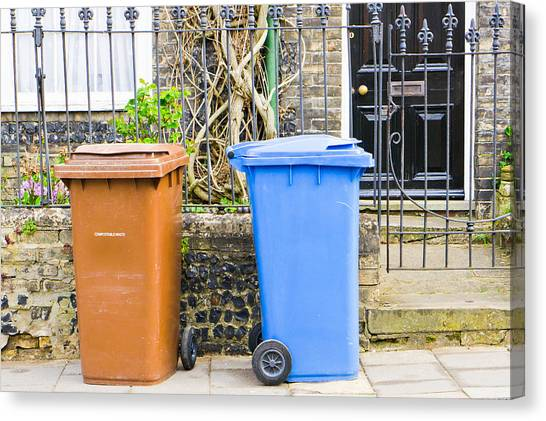 Rubbish Bin Canvas Print - Recycling Bins by Tom Gowanlock