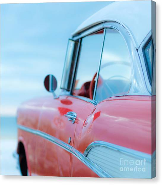 Beach Sunsets Canvas Print - Red Chevy '57 Bel Air At The Beach Square by Edward Fielding