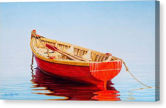 Fishing Boats Canvas Print - Red Boat by Horacio Cardozo