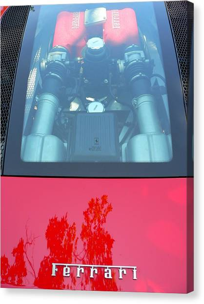 Canvas Print featuring the photograph Red Ferrari Engine Window by Jeff Lowe