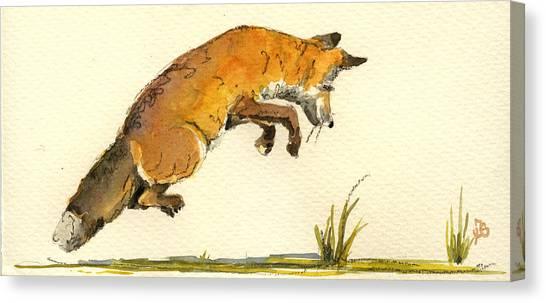 Hunt Canvas Print - Red Fox by Juan  Bosco