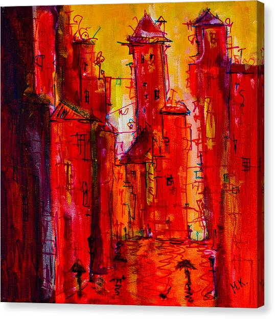 Red Rainy City 2 Canvas Print