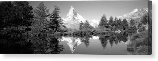 Matterhorn Canvas Print - Reflection Of Trees And Mountain by Panoramic Images