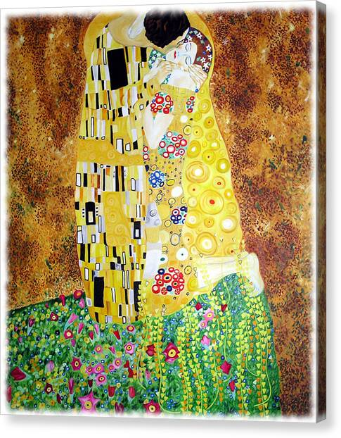 Reproduction Of - The Kiss By Gustav Klimt Canvas Print