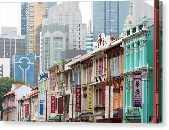 Singapore Skyline Canvas Print - Restored Buildings Against The Modern by Panoramic Images