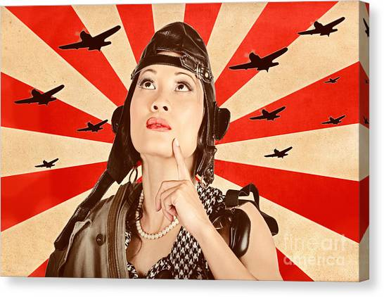 Girl Scouts Canvas Print - Retro Asian Pinup Girl. War Planes Of Revolution by Jorgo Photography - Wall Art Gallery