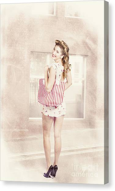 Shopping Bag Canvas Print - Retro Pin Up Woman Carrying Vintage Shopping Bag by Jorgo Photography - Wall Art Gallery