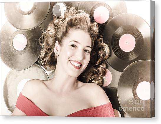 Bare Shoulder Canvas Print - Retro Pin-up Woman With Rocking Hairstyle by Jorgo Photography - Wall Art Gallery