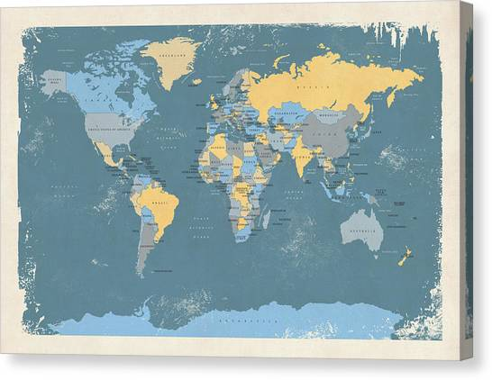 Planet Canvas Print - Retro Political Map Of The World by Michael Tompsett