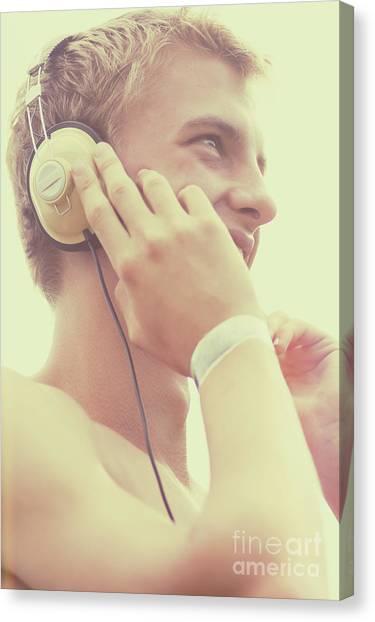 Headphones Canvas Print - Retro Summer Dj At Music Festival by Jorgo Photography - Wall Art Gallery