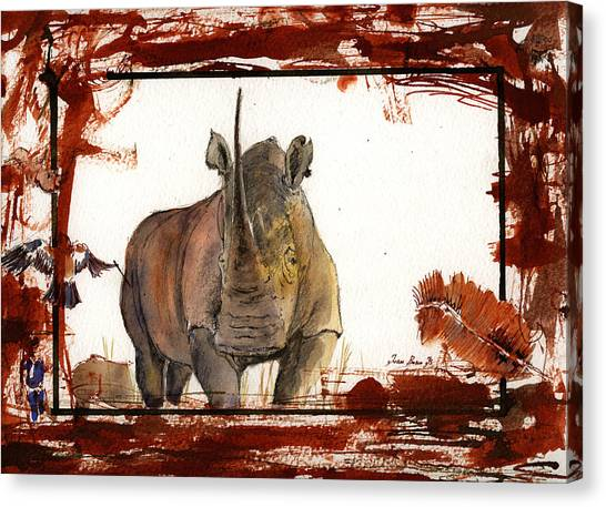 Rhinos Canvas Print - Rhino by Juan  Bosco