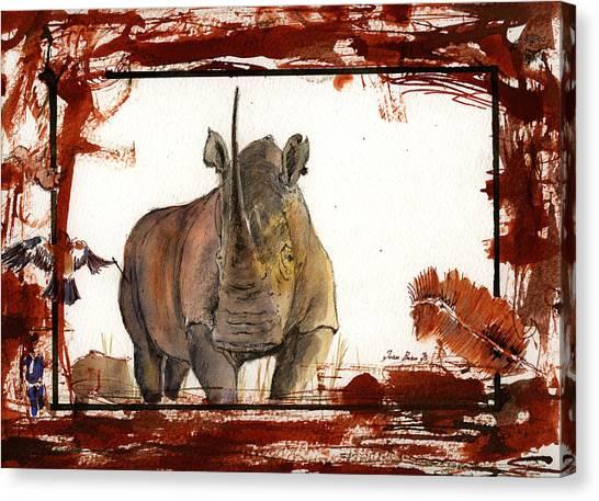 Rhinos Canvas Print - Rhino by Juan  Bosco