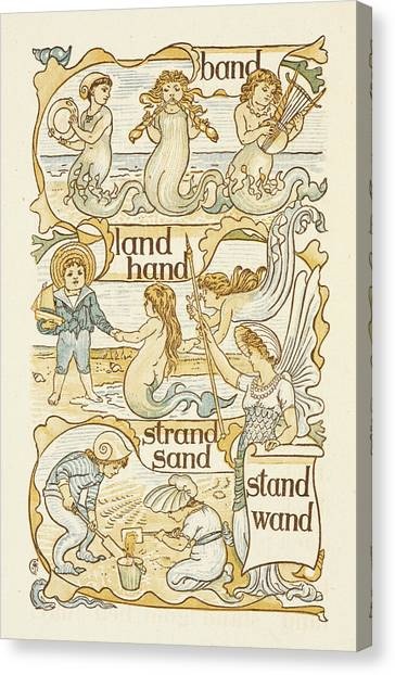 Sand Castles Canvas Print - Rhyming Words Ending In The Letter D by British Library