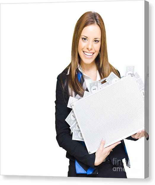 Folders Canvas Print - Rich Successful Business Woman Smiling With Money Briefcase by Jorgo Photography - Wall Art Gallery