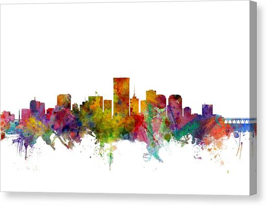 Richmond Virginia Canvas Print - Richmond Virginia Skyline by Michael Tompsett