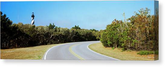Cape Hatteras Lighthouse Canvas Print - Road Leading Towards A Lighthouse, Cape by Panoramic Images