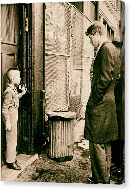 Analog Canvas Print - Robert F Kennedy With A Young Black Child 1960s by Mountain Dreams