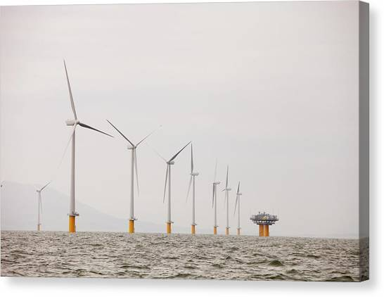 Wind Farms Canvas Print - Robin Rigg Offshore Wind Farm by Ashley Cooper