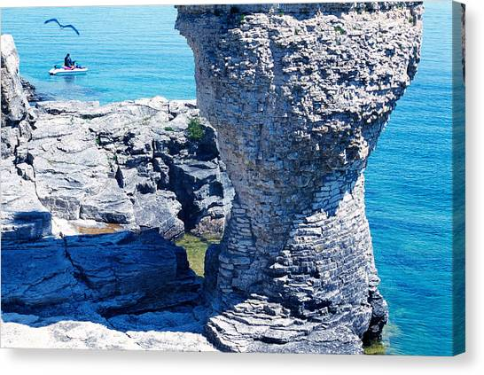 Jet Skis Canvas Print - Rock Formations, Bruce Peninsula by Panoramic Images