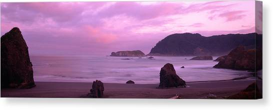 Sunrise Horizon Canvas Print - Rock Formations On The Beach, Myers by Panoramic Images
