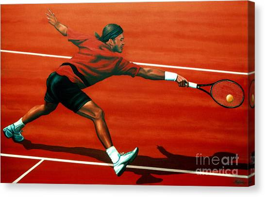 Roger Federer Canvas Print - Roger Federer At Roland Garros by Paul Meijering