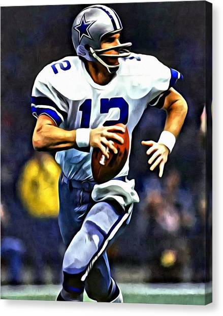 Running Backs Canvas Print - Roger Staubach by Florian Rodarte