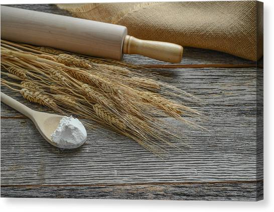 Rolling Pin With Wheat And Spoon With Flour Canvas Print