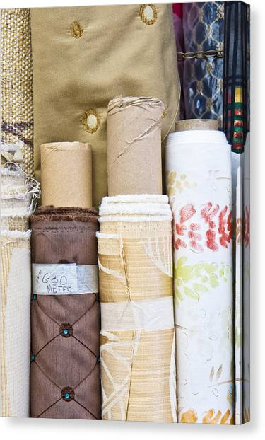 Selection Canvas Print - Rolls Of Fabric  by Tom Gowanlock