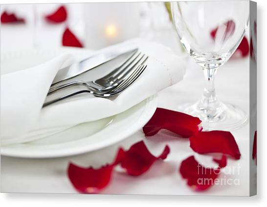 Rose Canvas Print - Romantic Dinner Setting With Rose Petals by Elena Elisseeva