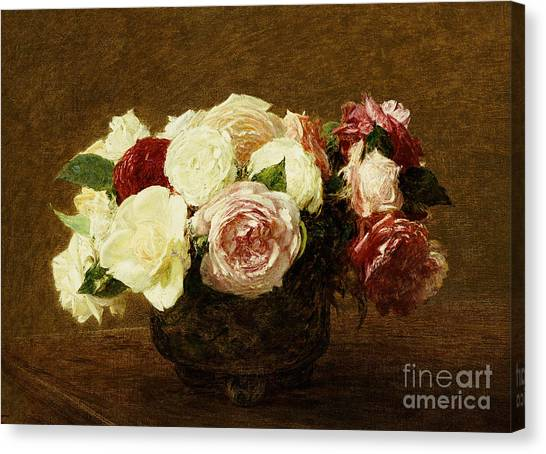 Red Roses Canvas Print - Roses by Ignace Henri Jean Fantin-Latour