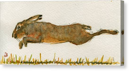 Running Canvas Print - Running Hare by Juan  Bosco